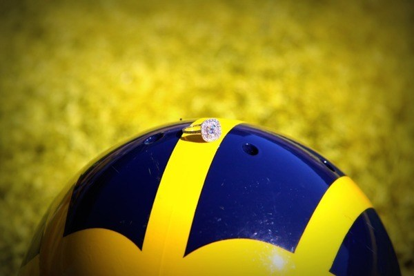 Diamond Ring on top of U of M Wolverine Helmet