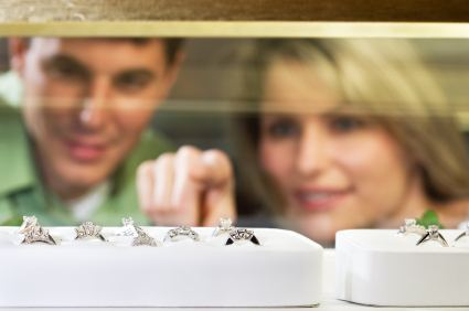 Couple shopping for diamond ring