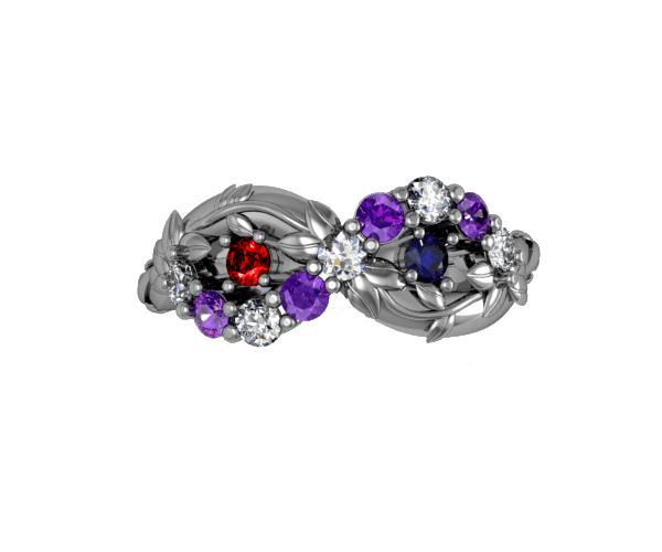 diamond and gemstone engagement ring