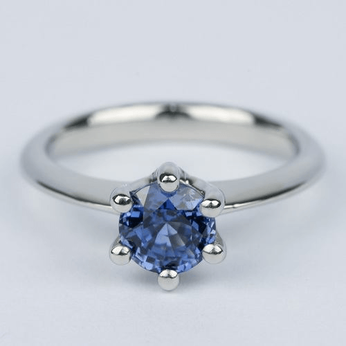 six prong sapphire gemstone engagement ring