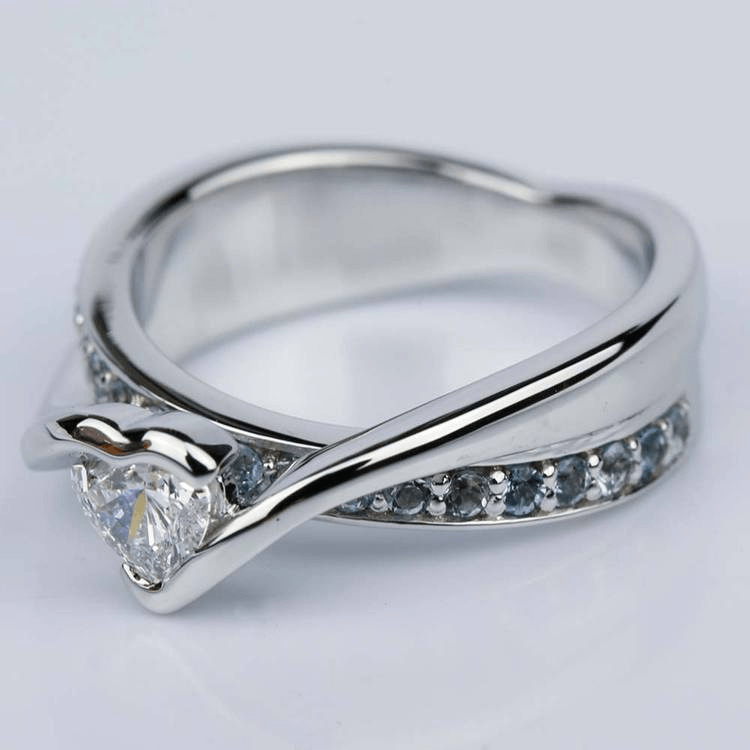 heart shaped silver diamond ring