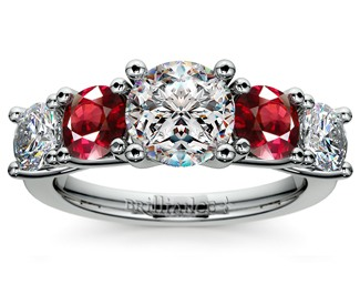 trellis diamond and ruby gemstone engagement ring in white gold