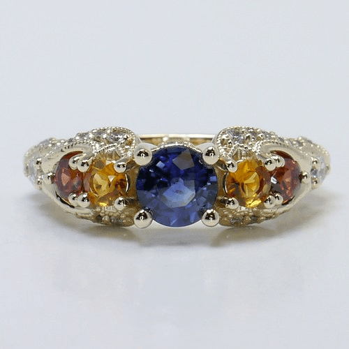 vintage swirl diamond and gemstone ring