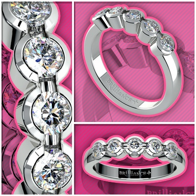Half Bezel Diamond Wedding Ring in White Gold