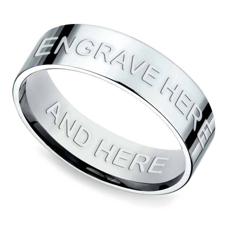 Engraved Flat Mens Ring in Platinum