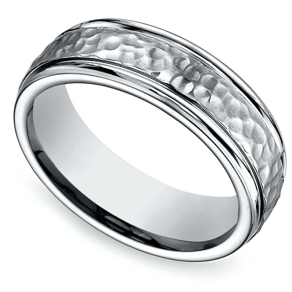 Hammered Mens Ring in Titanium