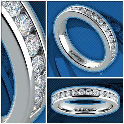 Channel Diamond Wedding Ring White Gold