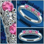 Five Diamond & Pink Sapphire Wedding Ring in White Gold