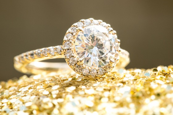 Halo Diamond Engagement Ring in Yellow Gold