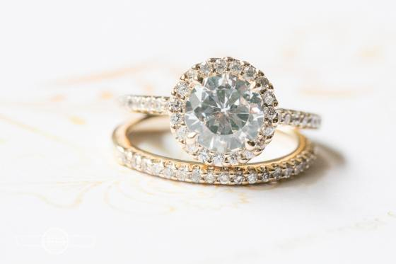 Halo Diamond Engagement and Wedding Rings in Yellow Gold