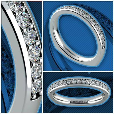 European Diamond Wedding Ring in White Gold