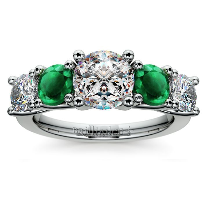 Round Emerald and Diamond Gemstone Ring