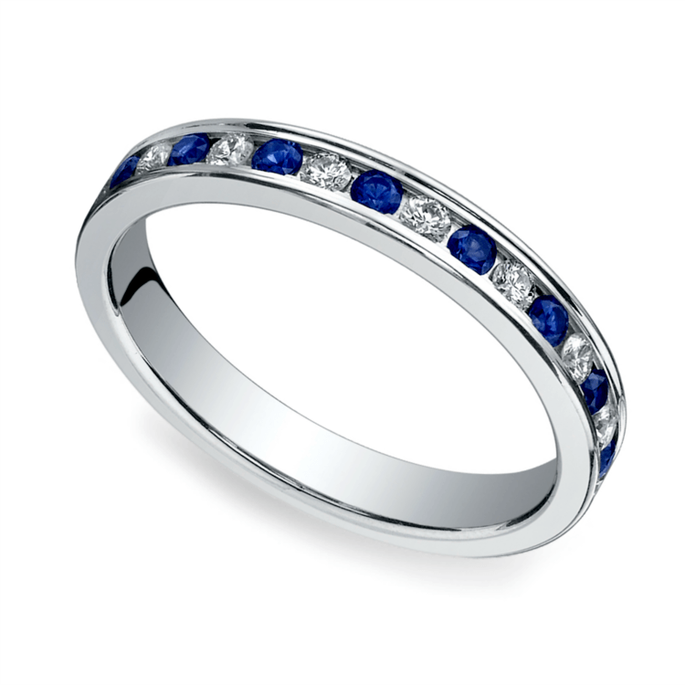sapphire diamond eternity band white gold