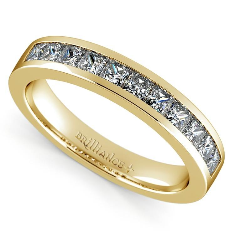 princess channel diamond band yellow gold