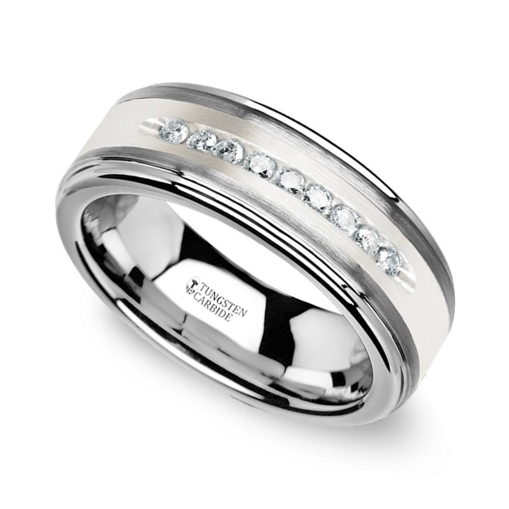 step edge channel diamond mens wedding ring