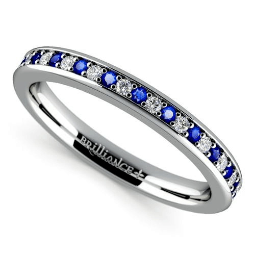 Pave Diamond & Sapphire Wedding Ring in Yellow Gold