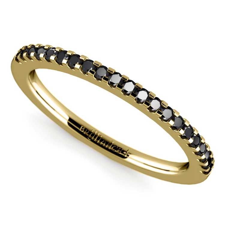 Scallop Black Diamond Wedding Ring In Yellow Gold