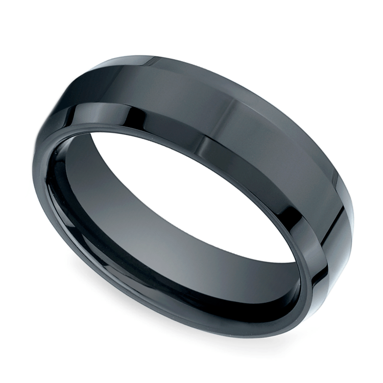 Beveled Men's Wedding Ring In Ceramic