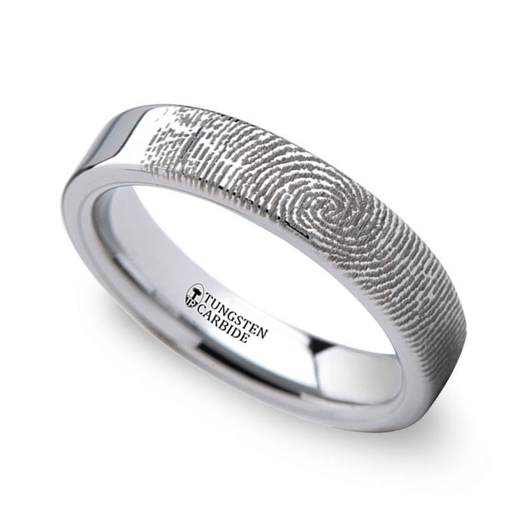 fingerprint engraved flat wedding band tungsten 4mm