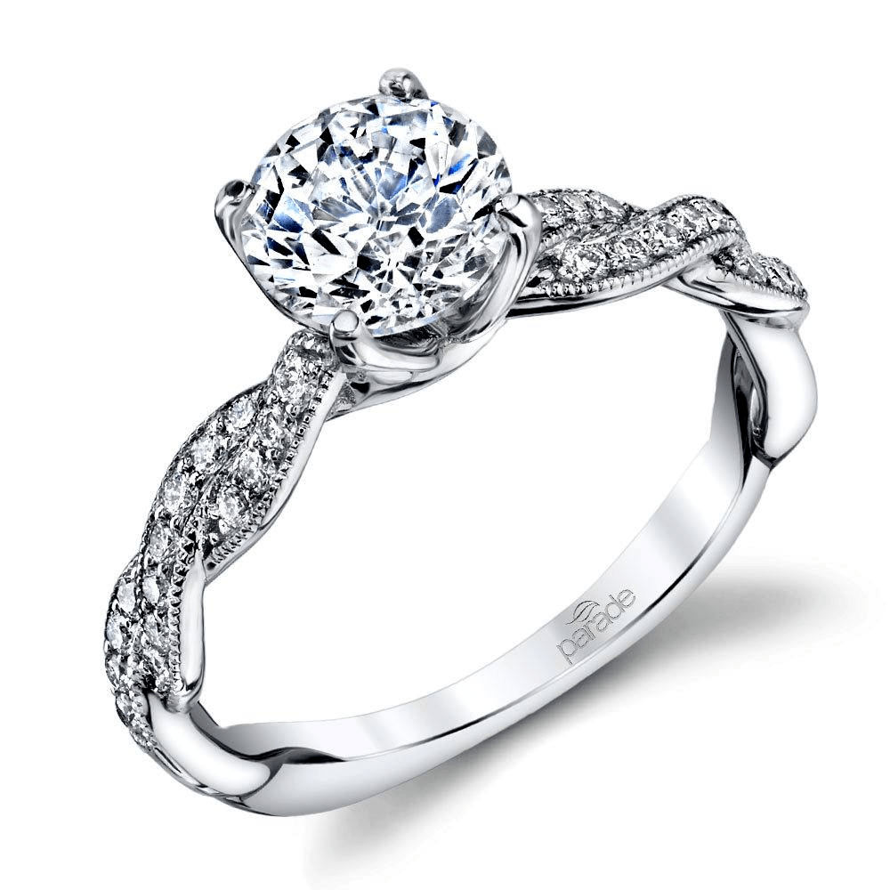 Twist Diamond Engagement Ring With Lyria Crown