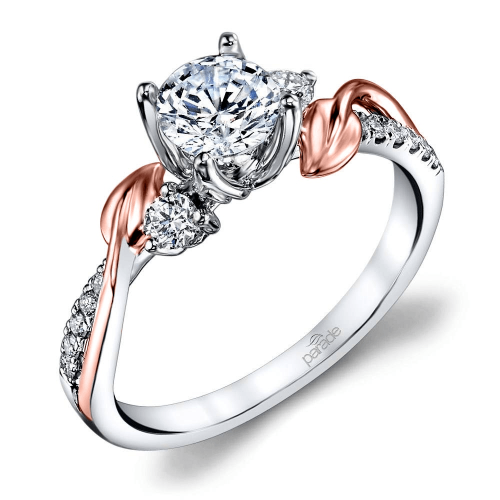 Leaves Three Stone Diamond Engagement Ring