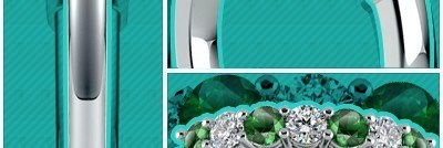 Seven Diamond & Emerald Wedding Ring