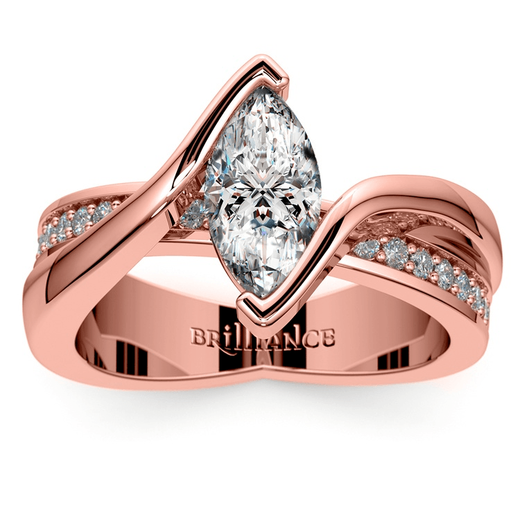 Marquise Bezel Diamond Bridge Engagement Ring In Rose Gold