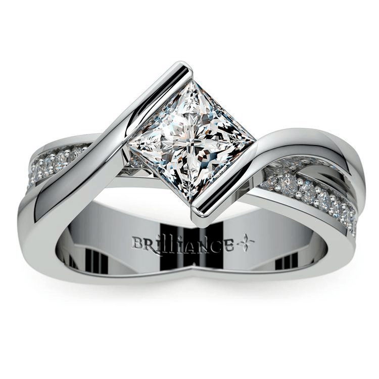 Princess Bezel Diamond Bridge Engagement Ring In White Gold