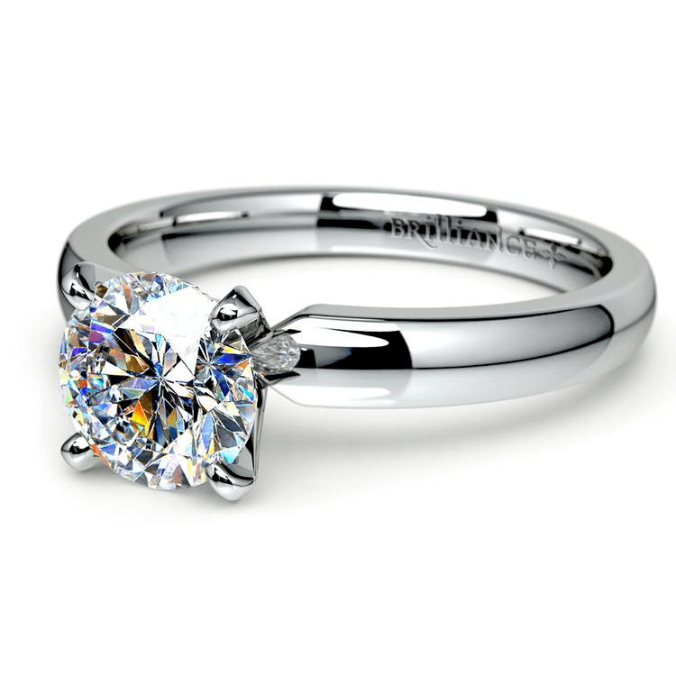 Round Diamond Preset Engagement Ring In White Gold