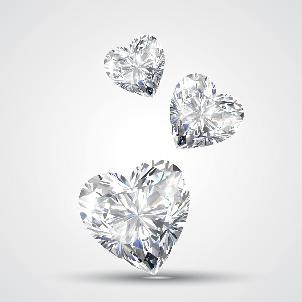 zirconia cubic shape diamond shaped cut heart kiss