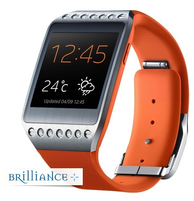 galaxy brilliance gear watch with orange diamond side