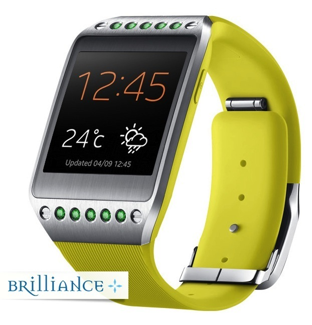 galaxy brilliance gear watch yellow emerald side