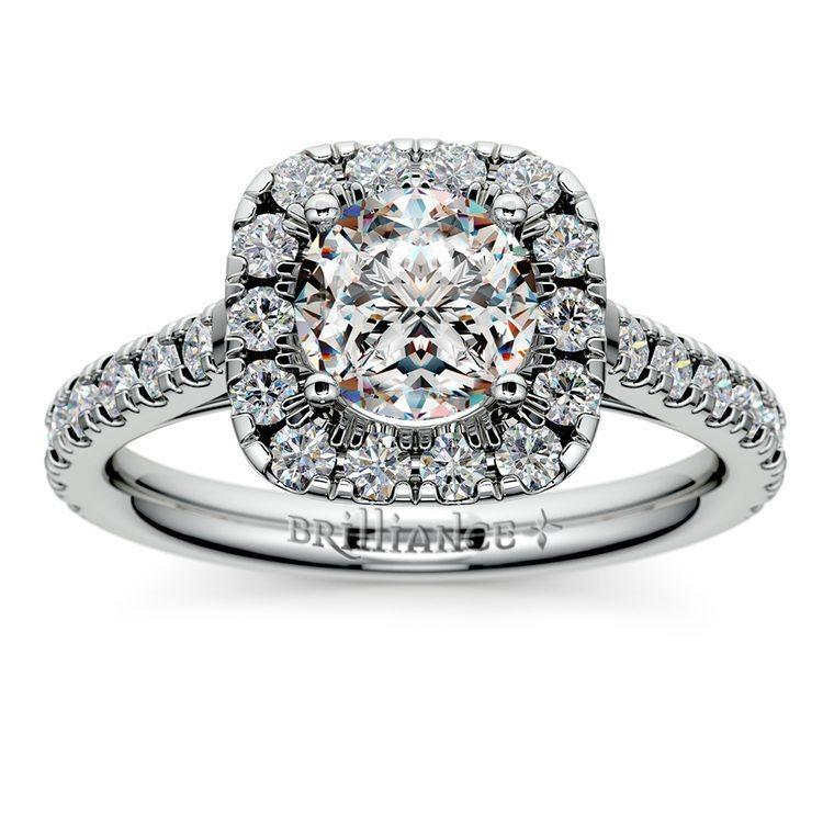 Square Halo Diamond Engagement Ring In Platinum