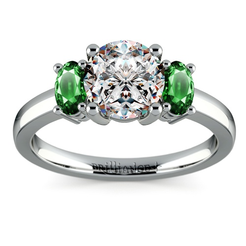 Oval Emerald Gemstone Ring in Palladium