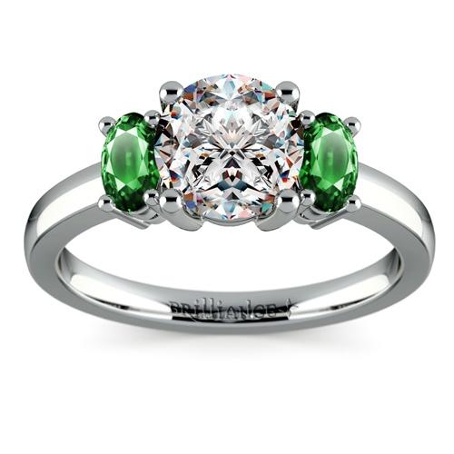 oval emerald gemstone ring in palladium