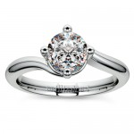 Swirl Style Solitaire Ring in Platinum