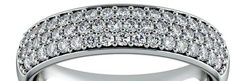Three Row Pave Diamond Wedding Ring