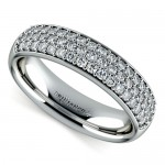Three Row Pave Diamond Wedding Ring in Platinum