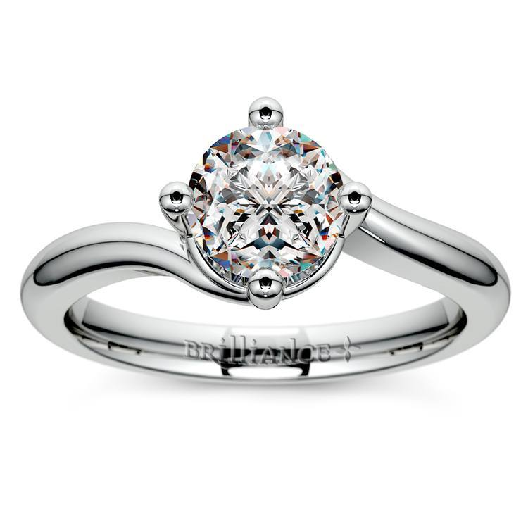 Swirl Style Solitaire Ring aus Platin