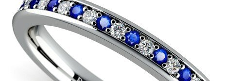 Pave Diamond & Sapphire Wedding Ring in White Gold