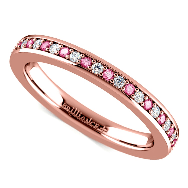 Pave Diamond & Pink Sapphire Eternity Ring in Rose Gold