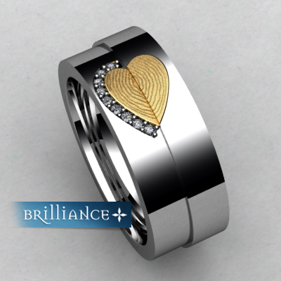 unique custom fingerprint diamond wedding bands from brilliance. Black Bedroom Furniture Sets. Home Design Ideas