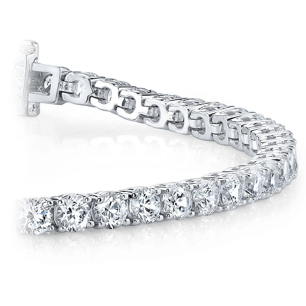 Round Diamond Line Tennis Bracelet in White Gold