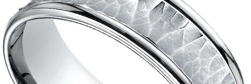 Hammered Concave Men's Wedding Ring in Palladium