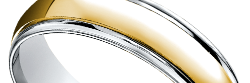Two Toned Beveled Mens Wedding Ring In White Yellow Gold