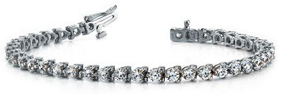round three prong tennis bracelet white gold