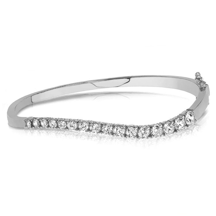 Curved Diamond Bangle Bracelet in White Gold