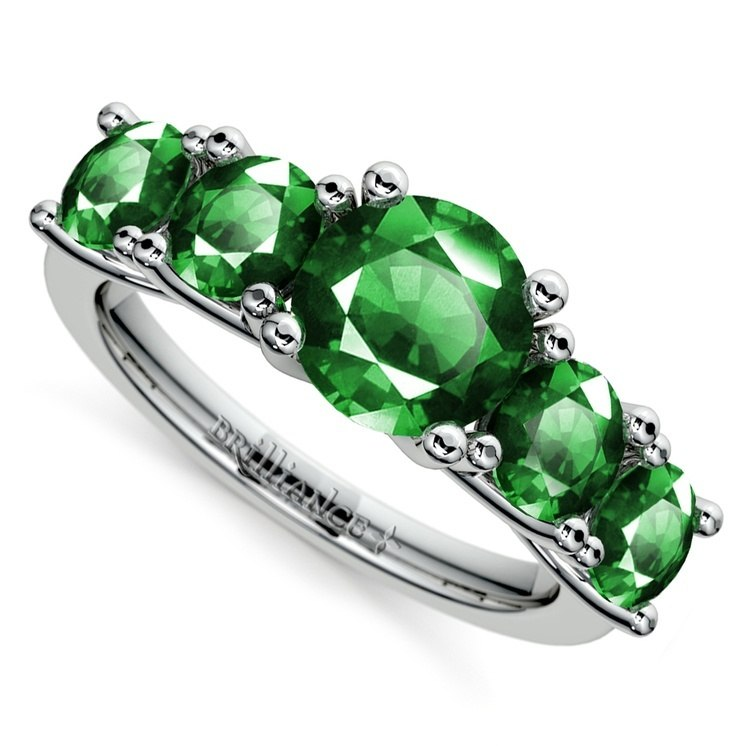 Trellis Five Emerald Gemstone Ring