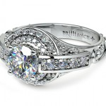 Antique Halo Diamond Ring in Platinum