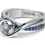 Bezel Sapphire Gemstone Bridge Ring in White Gold